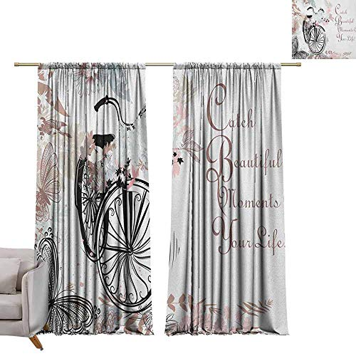Blackout Window Curtain Spring,Vintage Bike Covered by Soft Tone Blooms Leaves in The Park Butterflies Flying Theme, Multicolor W96 x L84 Room Darkening Wide Curtains