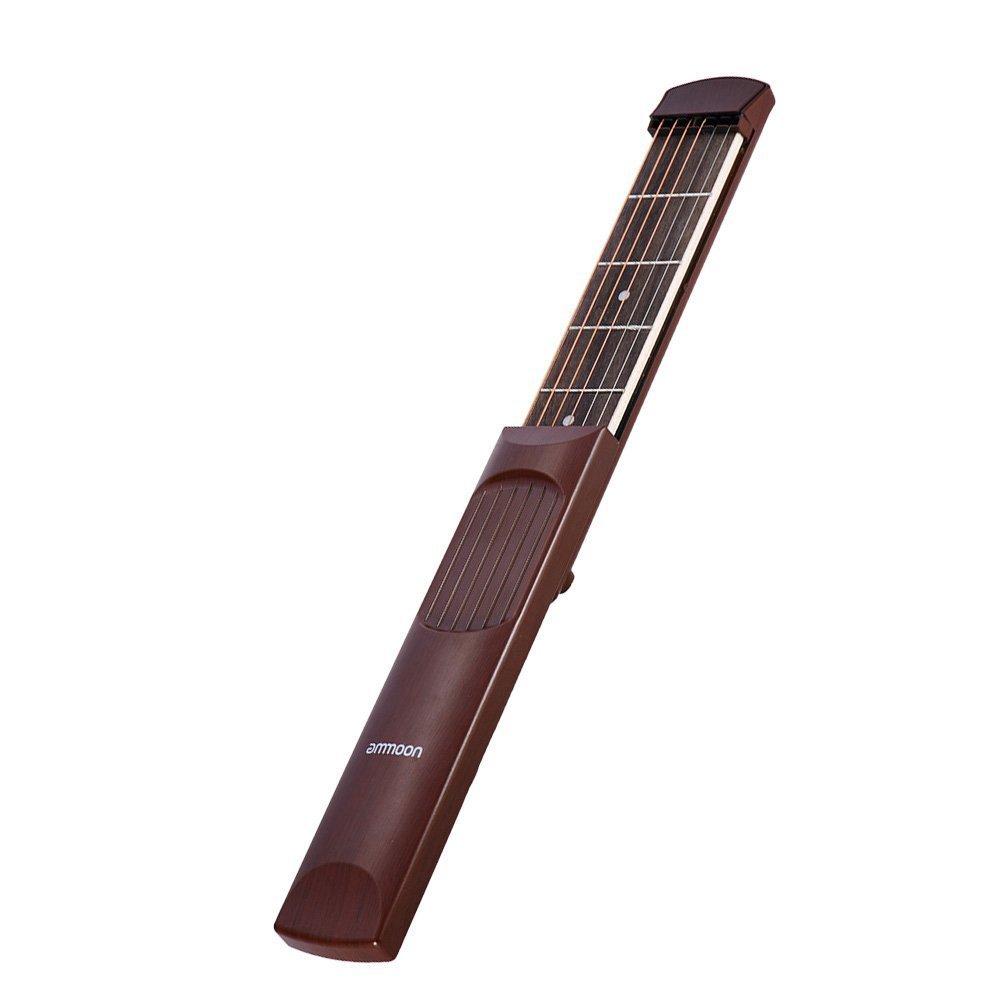 ammoon Pocket Acoustic Guitar Practice Tool 6 String 6 Fret Model Rosewood Fretboard (Brwon)