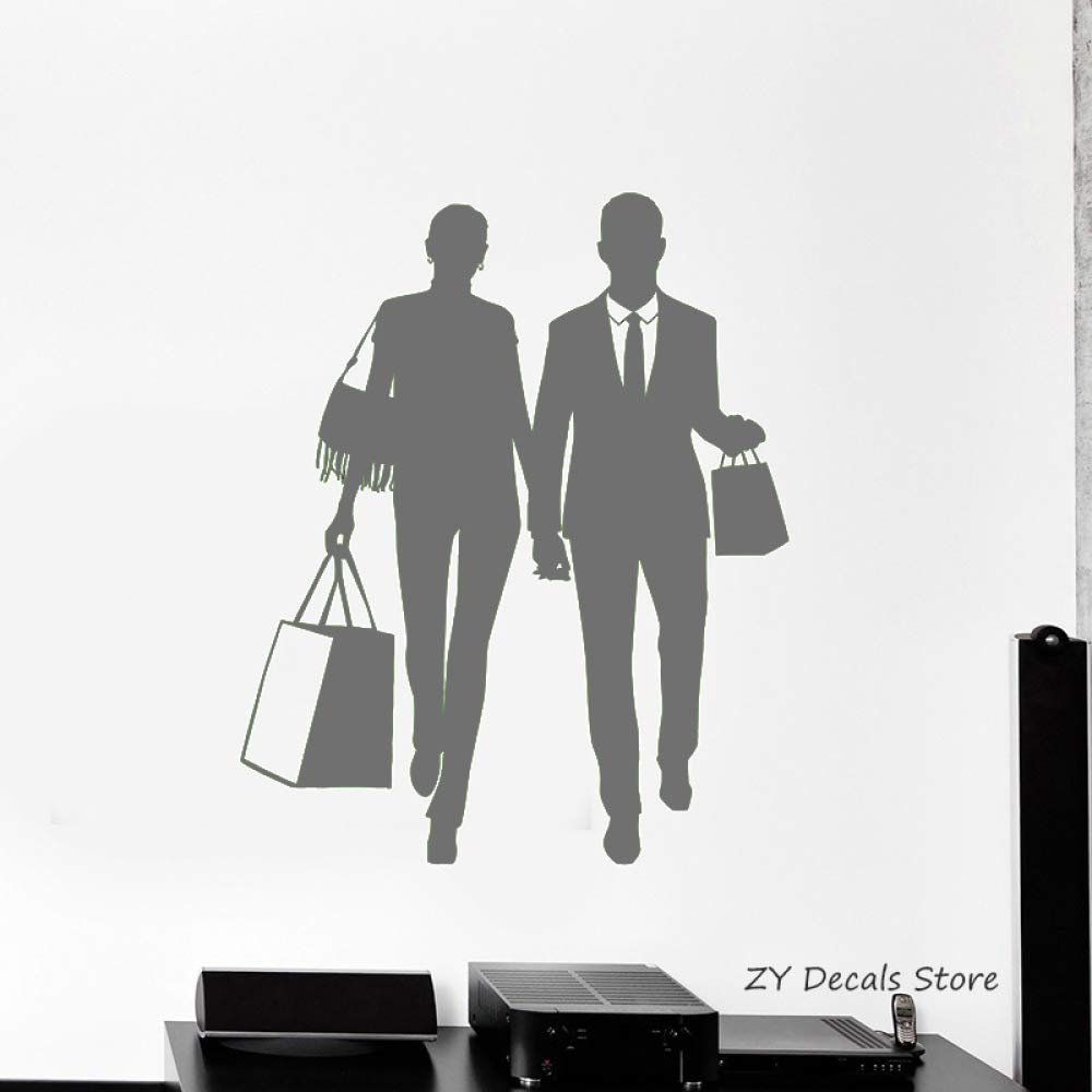 Compras silueta calcomanías de pared pareja asa bolsa tienda ...