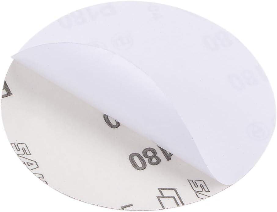 sourcing map 5-Pulg PSA Disco Lijado Aluminio /Óxido Adhesivo Posterior Papel Lija 180 Granos 10 Pcs