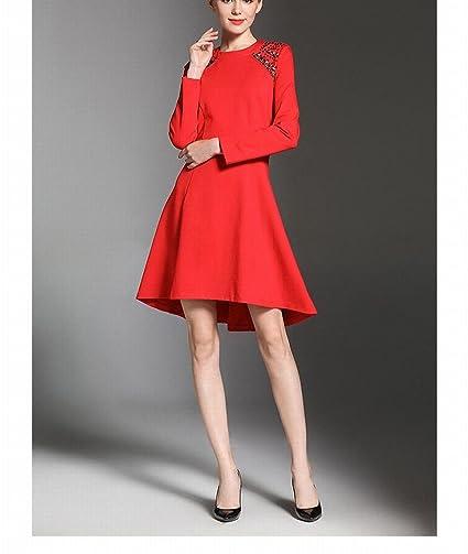 63e678cd8f LQZ Otoño E Invierno Tendencia Femenina Vestido Rojo Falda Perla Cuentas de  Cuello Redondo Vestido de