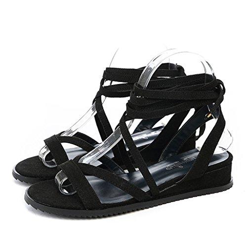 Sandali spiaggia scarpe romane Tacchi Donna Pendenza Estate nere Fondo semplice da Attached morbido coreano PPTa7rx
