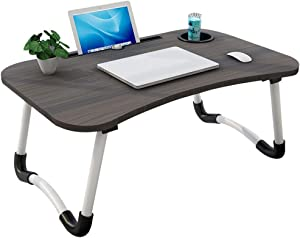 Laptop Bed Table, Foldable Laptop Tray with Beverage Holder, Portable Notebook Stand for Eating Breakfast, Reading Book, Watching Movie on Bed/Couch/Sofa (Black)