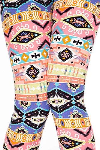 Women's Printed Buttery Soft Leggings Plus Size 12-18 (F500 Aztec Sunrise)