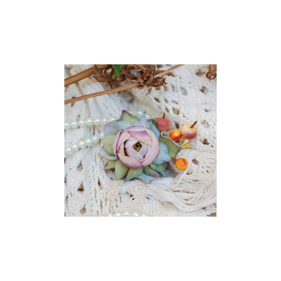 Helen de Lete Innovative Flower and Berry Handmade Brooch and Hairpin