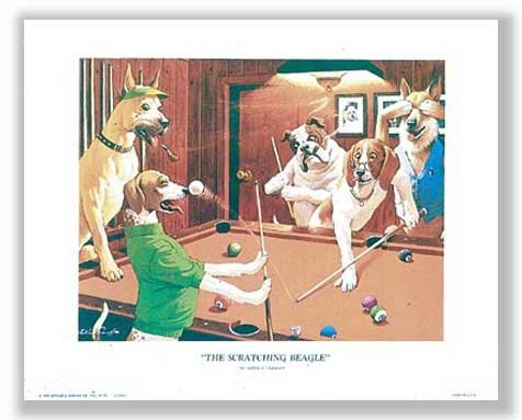 The Scratching Beagle by Arthur Sarnoff - 16 x 20 inches - Fine Art Print / Poster