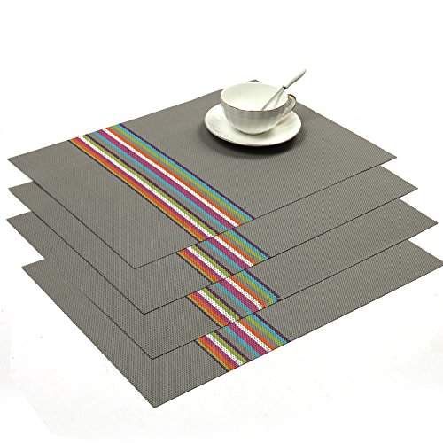 SHACOS Rectangle PVC Placemats for Table Heat Insulation Stain-resistant Woven Vinyl Kitchen Placemat Set of 4 (4, Grey)