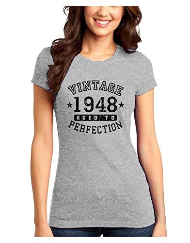 - TooLoud 70th Birthday Vintage Birth Year 1947 Juniors Petite T-Shirt - Ash Gray - 2XL