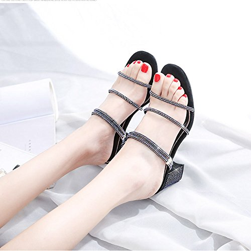 Sandals ZHIRONG Summer Women's High Heel Open Toe Square Head Rhinestone Slippers (Color : Black, Size : EU36/UK3.5/CN35) Black