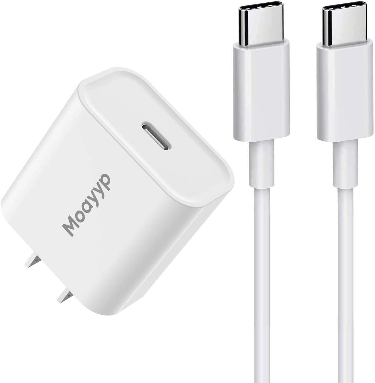 18W USB C Fast Wall Charger Compatible 2020/2018 iPad Pro 12.9 Gen 4/3, iPad Pro 11 Gen 2/1, iPad Air 4, Google Pixel 4/3 Pixel 2 XL Pixel 3A XL 2XL 3XL 4XL, with 3ft USB C to C Charging Cable