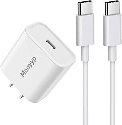 USB C Fast Charger for iPhone 12//12 Mini//12 Pro Max Google Pixel 3 3a 3XL 4 4a 4XL 5 iPad Pro 11 //12.9 3 Gen 18W USB C Power Adapter with 6ft USB C to C Charging Cord