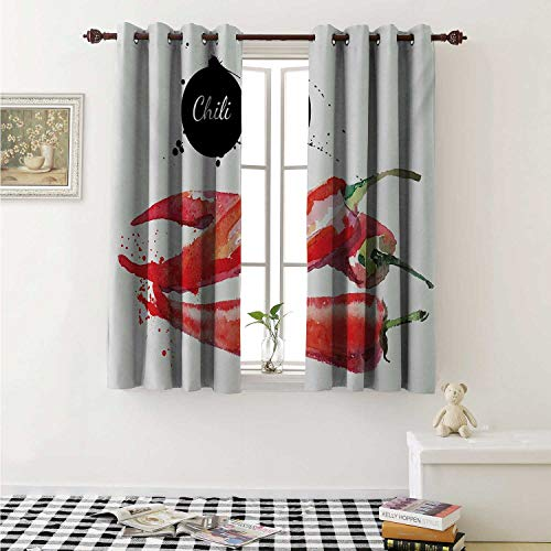 shenglv Food Blackout Draperies for Bedroom Hand Drawn Watercolor Illustration of Chili Pepper Spicy Ingredient Curtains Kitchen Valance W72 x L63 Inch Fern Green Vermilion Black (Patio Redskin Pepper)