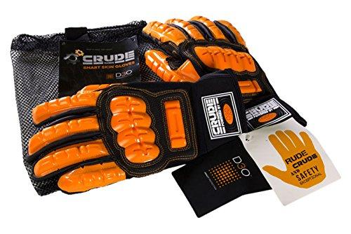 CrudeHands 9075-G1-SS-L Smart Skin Warm Weather Impact Gloves, Large, Black/Orange