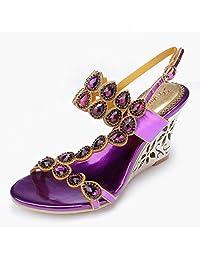Doris Fashion Women's Evening Wedding Shoes Glitter Rhinestone Wedge Sandals Summer