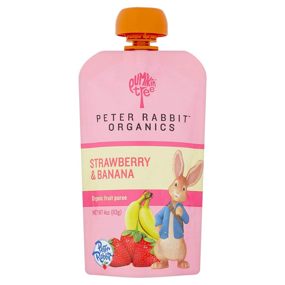 Peter Rabbit Organics Strawberry and Banana 100% Pure Fruit Snack, 4 Ounces Squeeze Pouch, (Pack of 18) (Pack of 18)