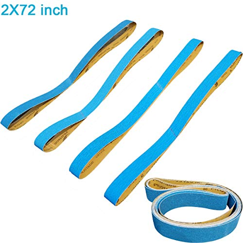 Tonmp 2 x 72 Inch Metal Grinding Zirconia Sanding Belts - One Each of 40 80 100 and 120 Grits - Blue Regalite Resin Bond Cloth Sanding Belt,4 pack (2 X 72 inch) (Best Sanding Belt For Metal)