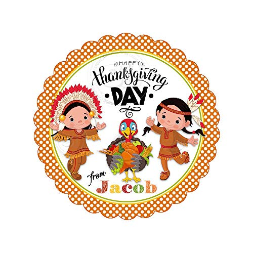Thanksgiving Customized Printable Tags Happy Thanksgiving Indian Boy and Girlturkey Tag DIY Stickers Gift Tags ()