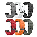 Notocity Compatible Garmin Fenix 5 Band 22mm Width Soft Silicone Watch Strap for Garmin Fenix 5 (6PCS Pack)