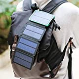 Solar Charger Energy10000 Mah Power Bank with 4 Foldable Portable Pack Panels Dual USB Charging Output Input 5V 1A/2A External Backup Battery for iPhone Ipad Air Samsung Galaxy Android iPod Camera.