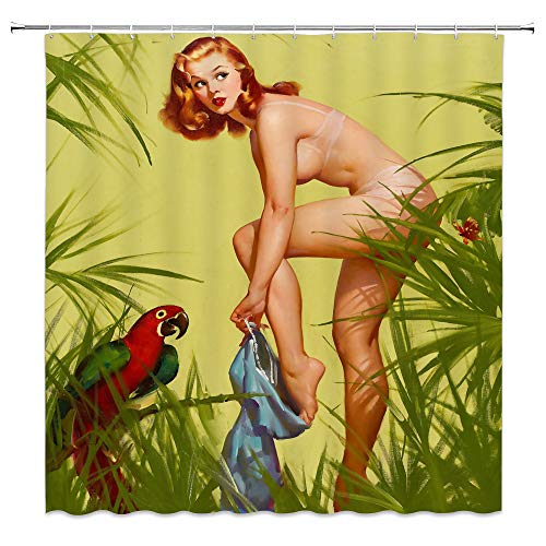 AMFD Pin up Girl Shower Curtain Sexy Girl Retro Nude Naked Women Dressed in Grass Vintage Art Poster Beauty Green Bathroom Curtains Polyester Fabric Waterproof 70 X 70 Inches Include Hooks -