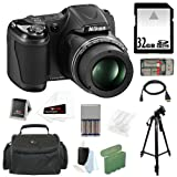 Nikon COOLPIX L820 16MP Digital Camera, 30x Optical Zoom, 3-in LCD Black, 32GB SDHC Memory Card, Multi Card Reader, Micro HDMI Cable, 4 AA Rechargeable Batteries, Charger, Accessory Kit and Bag