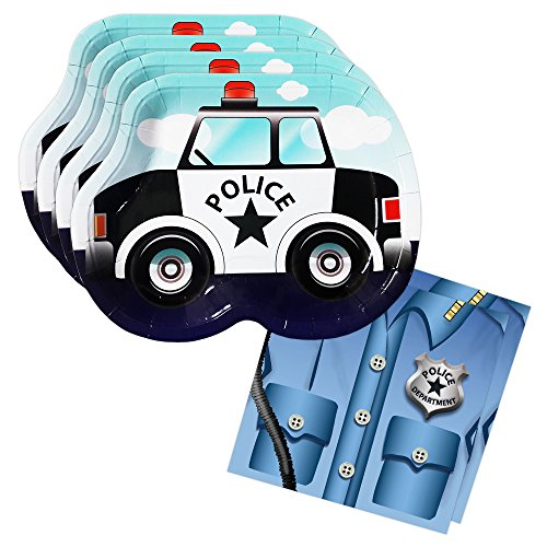 Police Cruiser Shaped Plate & Napkin Sets (70+ Pieces for 32 Guests!), Table Decorations, Police Graduations and Birthdays ()