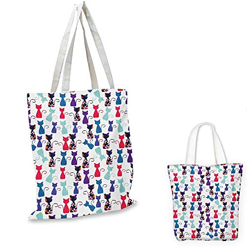 Blank Utility Pouch - Cat Print shopping bag storage pouch Baby Animals in Colors With Flowers Cute Funny Kittens Artistic Pattern Print small tote shopping bag Multicolor. 12