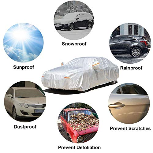 """SEAZEN Car Cover 6 Layers, Waterproof Hatchback/Sedan Car Cover with Zipper Door , Snowproof/UV Protection/Windproof, Universal Car Covers Breathable Fabric with Cotton (Length Up to 184"""")"""