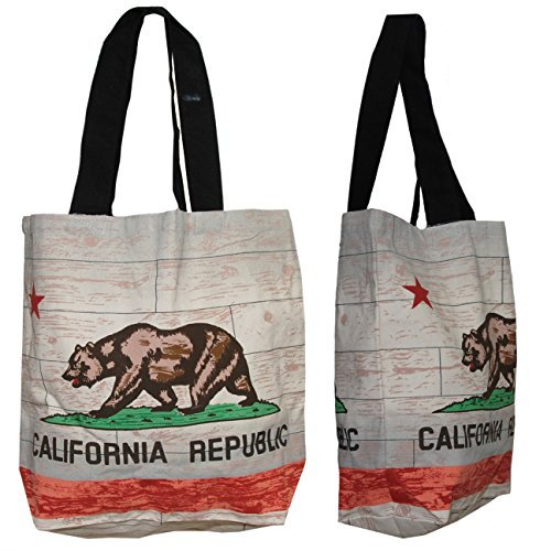 Shopper Tote Bag - California Flag, Eco-Friendly Reusable Multipurpose Canvas Grocery Bag -