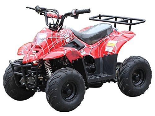 "110cc ATV Four Wheelers Fully Automatic 4 Stroke Engine 16"" Tires Quads for Kids Spider Burgundy"