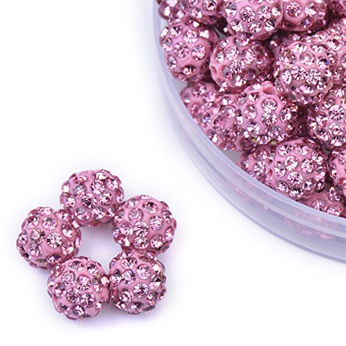 iCherry(TM) 8mm 100pcs/Lot Hot Pink Clay Pave Disco Ball for Rhinestone Crystal Shamballa Beads Charms Jewelry Makings