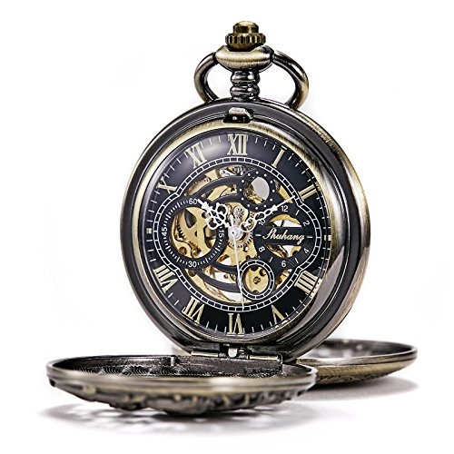 (TREEWETO Men's Antique Brone Dragon Mechanical Skeleton Pocket Watch for Women with Chain )