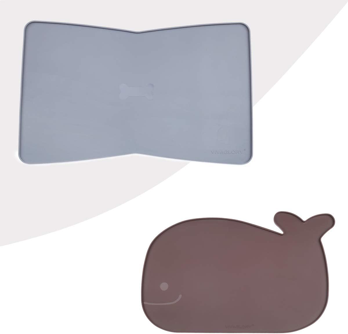 Vivaglory Bowknot-Shaped Pet Feeding Mat+Whale-Shaped Pet Feeding Mat
