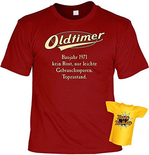 Modisches Herren Fun-T-Shirt als ideale Geschenkeidee im Set zum 45. Geburtstag + Mini Tshirt Jahrgang 1972 Farbe: dunkelrot