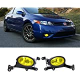 VioGi Fit 06-08 Honda Civic 2-Door Coupe Yellow Lens Fog Lights Kit w/ Bulbs+Switch+Wiring Harness+Relay+Bracket+Necessary Mounting Hardware
