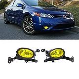 fog lights civic - VioGi Fit 06-08 Honda Civic 2-Door Coupe Yellow Lens Fog Lights Kit w/ Bulbs+Switch+Wiring Harness+Relay+Bracket+Necessary Mounting Hardware