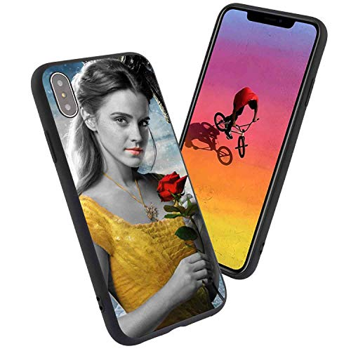 DISNEY COLLECTION Fit for iPhone Xs Max (6.5-Inch) Beast Beauty Black and White Cute Emma Watson Film Movie Red Rose Yellow Dress The