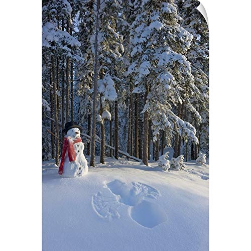 (CANVAS ON DEMAND Snowman and Freshly Made Snow Angel Wall Peel Art Print, 12