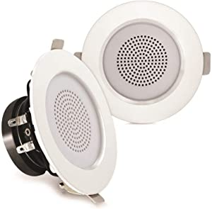 """Pyle 3"""" Mountable Speaker Pair, Ceiling or Wall, Reinforced Aluminum Frame, Heat Resistant Basket, Built-in High-Efficiency LED Lights, ABS Construction, 80-18 kHz (PDICLE3FR)"""
