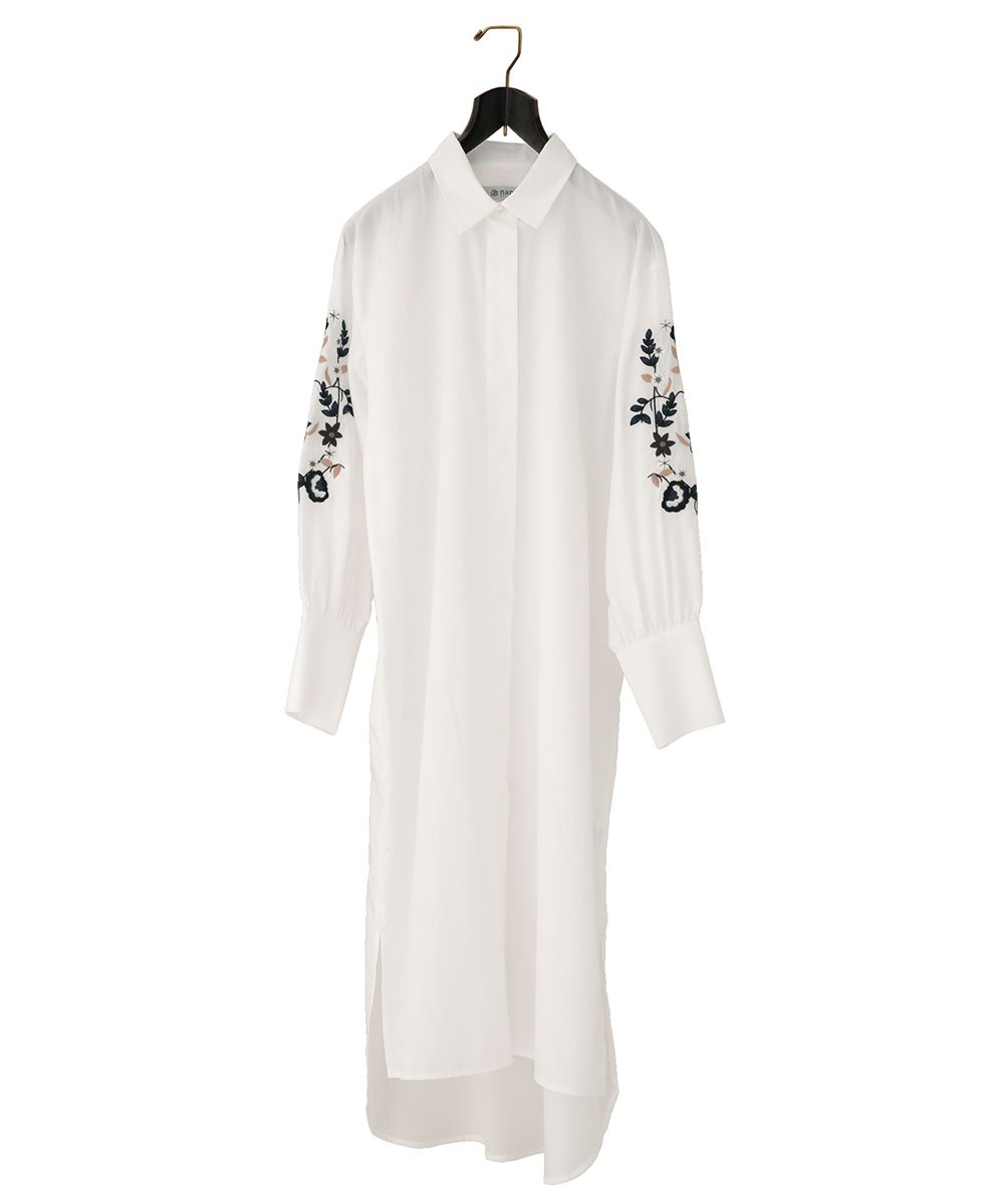 (ナノユニバース) nanouniverse 袖刺繍シャツワンピ 9999175114532 B073XJZ73G F|ホワイト ホワイト F