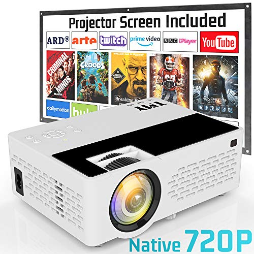 Projector Native 720P, TMY 3800 Lux [100″ Projector Screen Included] Video Projector Full HD 1080P Supported, Portable Mini Projector Compatible with HDMI USB VGA TF TV Stick DVD for Home Cinema.