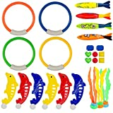 LEZHI Underwater Swimming/Diving Pool Toy Rings including (4) Diving Rings, (4) Diving Torpedos Bandits,(3) Stringy Octopus, (6) Diving Dolphins,(8) with Under Water Treasures Gift Set Bundle