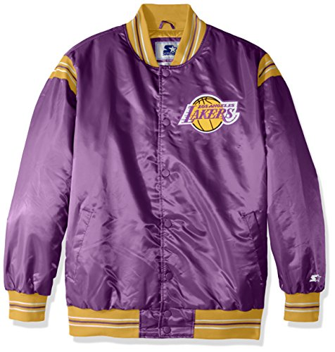 NBA Los Angeles Lakers Men's The Enforcer Retro Satin Jacket, 6X, Purple (Authentic Jacket Satin)