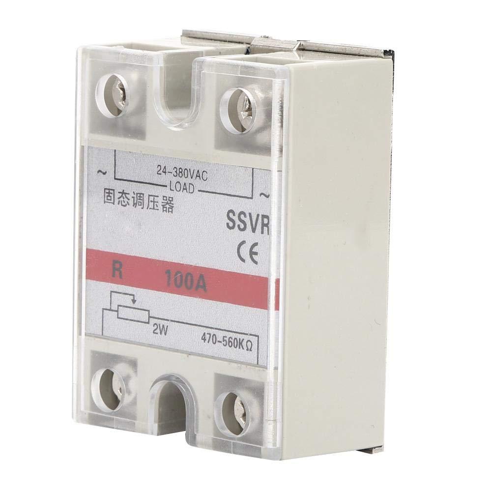 Regulador de voltaje de estado sólido, SSVR-100-VA Relé de estado sólido monofásico de baja frecuencia 24-380VAC Instalación atornillada 100A 470-560KΩ/2W Módulo