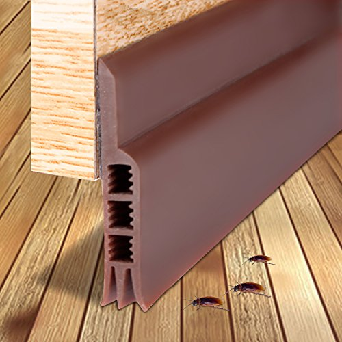 "Door Sweep, Weather Stripping Under Door Draft Stopper Door Insulation Soundproof for Door Bottom Bugs Stopper,( Brown 2"" Width X 39"" Length)"