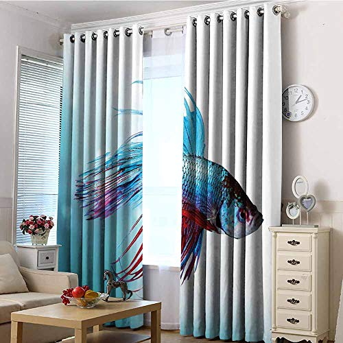 (TT.HOME Indoor/Outdoor Curtains,Aquarium Siamese Fighting Betta Fish Swimming in Aquarium Aggressive Sea Animal,Darkening Thermal Insulated Blackout,W96x72L Sky Blue Dark Coral)