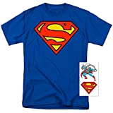 Superman Classic Logo T Shirt and Exclusive Stickers (XXXXX-Large)