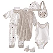 8PCS Cotton Newborn Baby Clothes Clothing Set Includes Jumpsuit+Hats+Socks+Bib+Tops+Pants Multi Color Dots Style Layette for 0-3M Infant (Coffee)