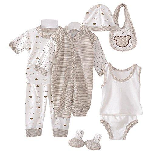 Layette Infant (8PCS Cotton Newborn Baby Clothes Clothing Set Includes Jumpsuit+Hats+Socks+Bib+Tops+Pants Multi Color Dots Style Layette for 0-3M Infant (Coffee))
