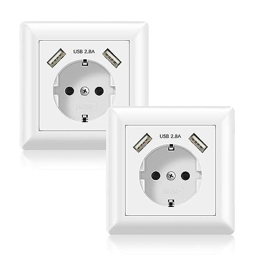 Jindia 2.8A Schuko Enchufe para la pared con 2 puertos de carga USB, toma USB Sockets de pared blancos (2.8A 2 Pack)